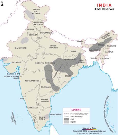 Угольные бассейны в Индии карта