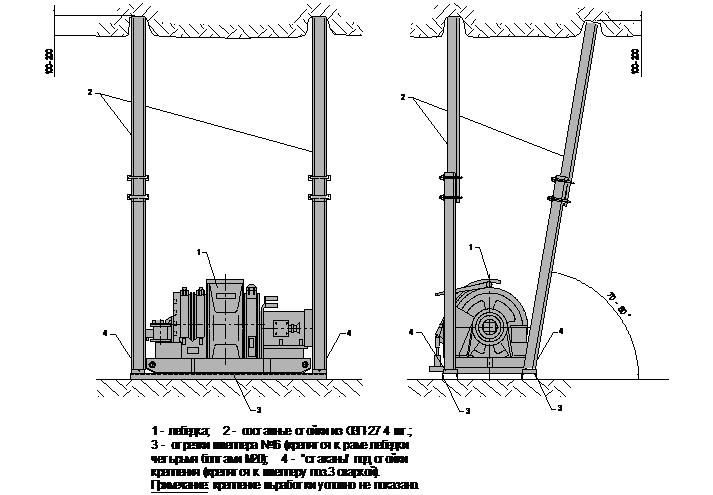 лебедка ЛВД-34 (ЛВД-24) составными стойками из СВП-27