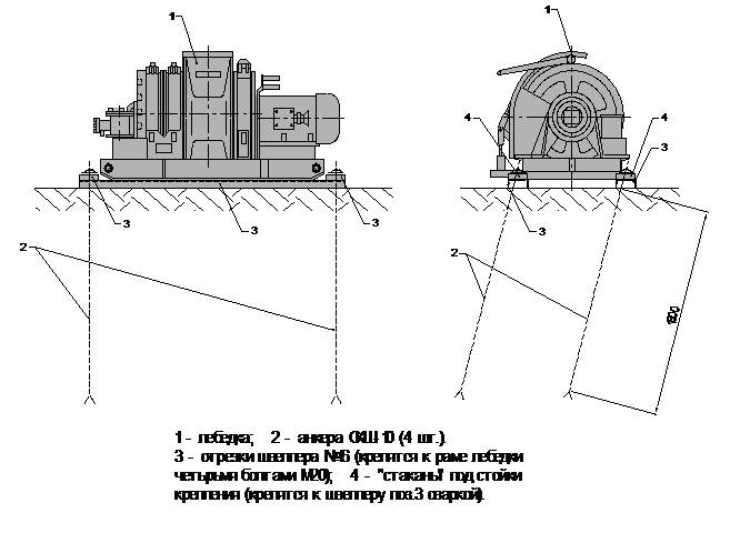 лебедка ЛВД-34 (ЛВД-24) анкерами СКШ -10