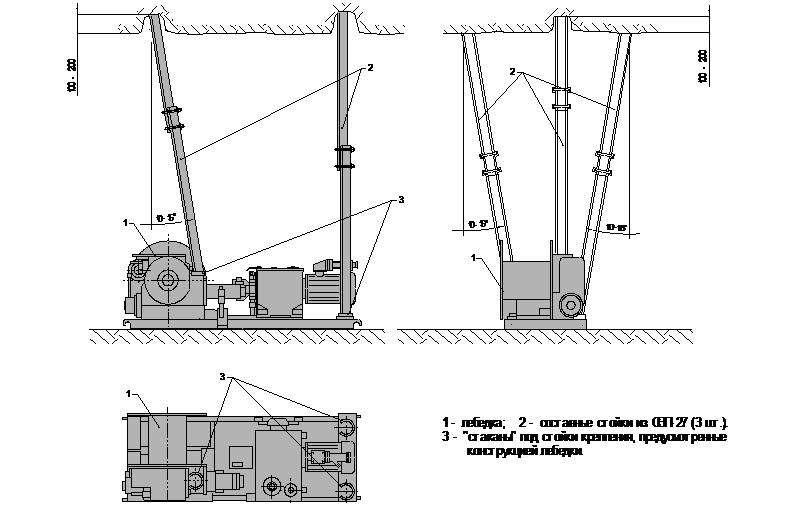 лебедка 3ЛП составными стойками из СВП-27