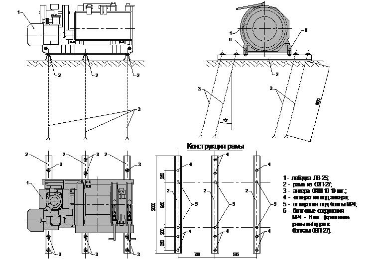 лебедка ЛВ-25 анкерами СКШ -10